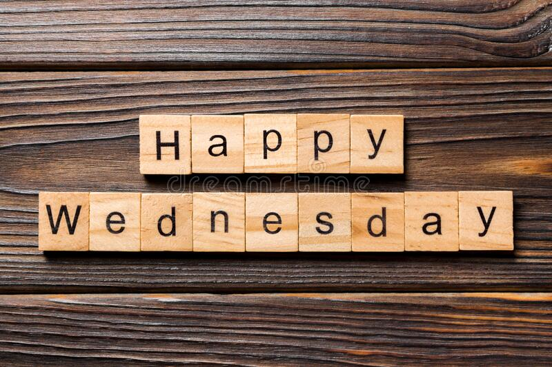 Happy wednesday word written on wood block. Happy wednesday text on wooden table for your desing, concept.  royalty free stock photos