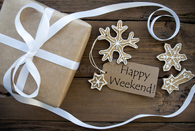 Happy Weekend Greetings with Winter Background royalty free stock photo