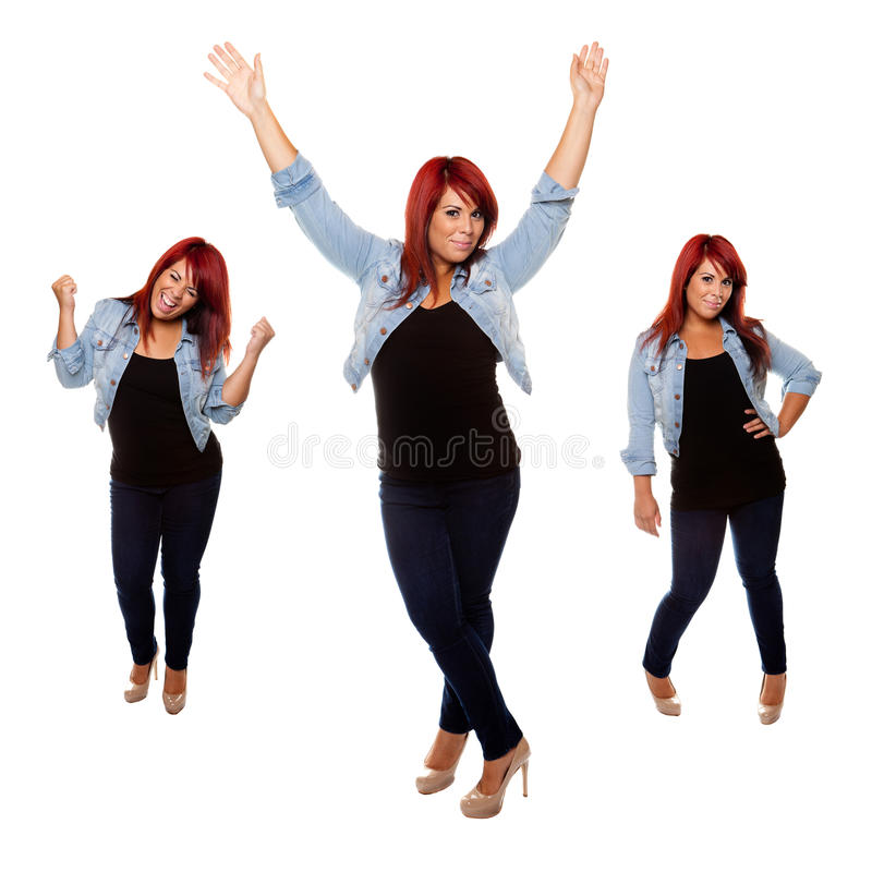 Happy Weight Loss Girl royalty free stock image