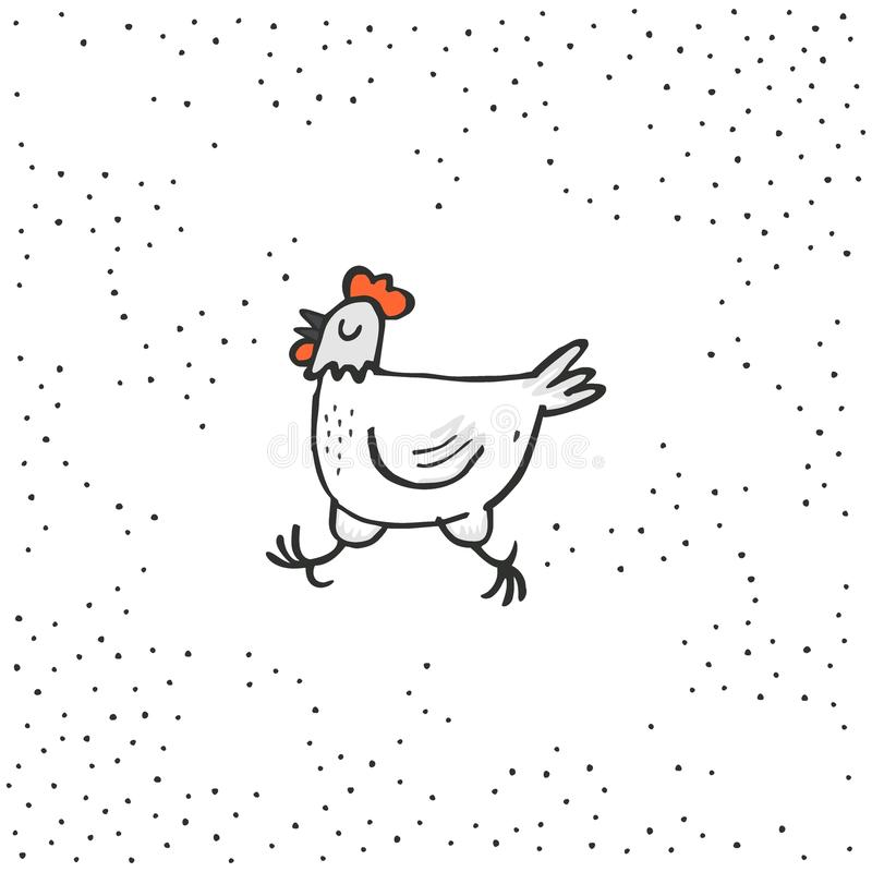 Happy white hen spring holiday Easter time illustration on white dotted background. Hand drawn cartoon centerpiece vector illustration