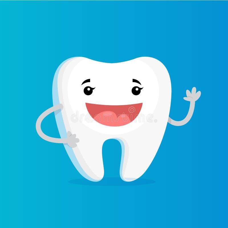 Happy white shiny tooth. Idea of dental care vector illustration