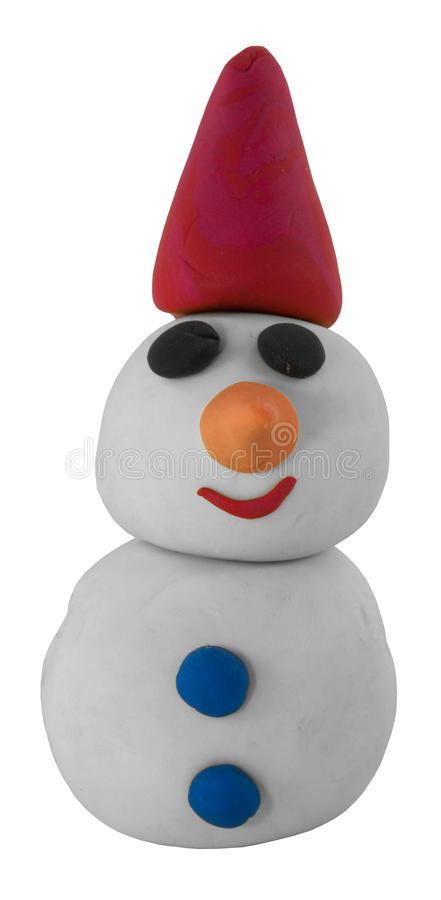 Happy white snowman with hat on white. Happy white snowman with hat made from clay on white royalty free stock photo