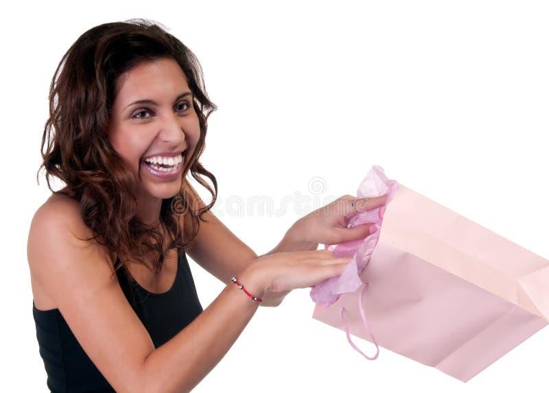 Happy wih gift stock photography