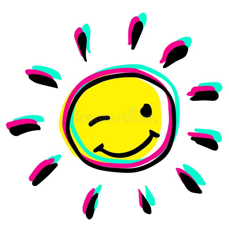 Happy winking hand drawn colorful sun vector illustration. stock photo