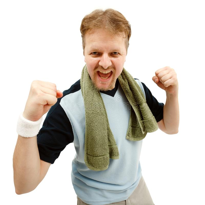 Download Happy, winner sportsman stock photo. Image of green, towel - 17939340
