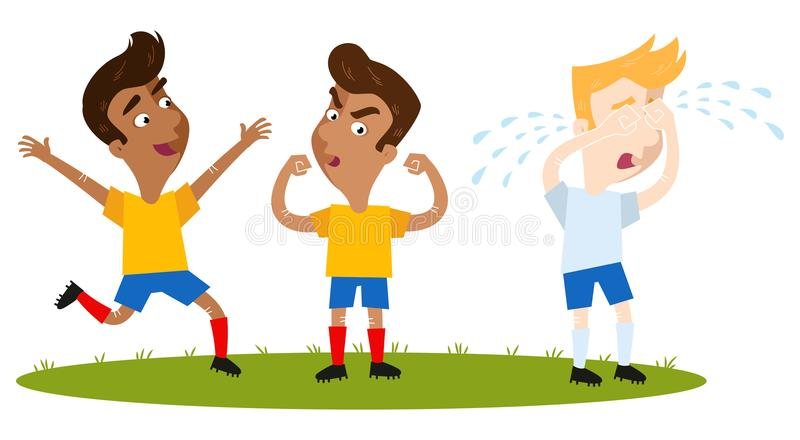 Happy winning South American cartoon outfield players in yellow shirts and blue shorts celebrating, caucasian opponent crying royalty free illustration