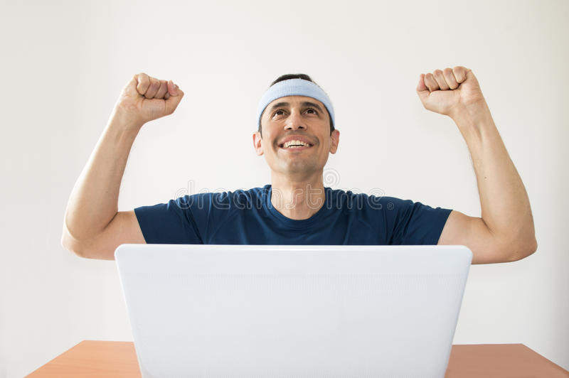 Happy after winning a sports bet stock photos