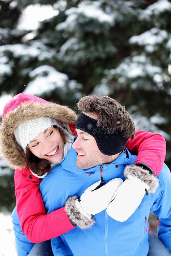 Happy Winter Couple Fun Stock Image