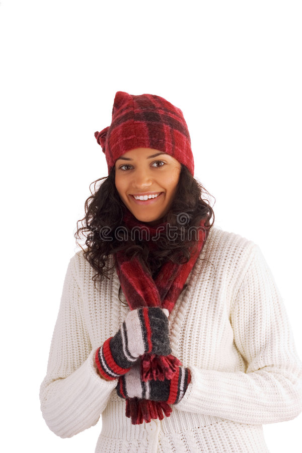 Happy winter girl. Beautiful winter girl isolated on white background stock photography