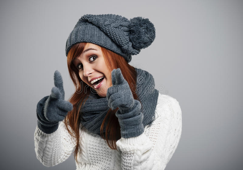Happy winter girl stock photos