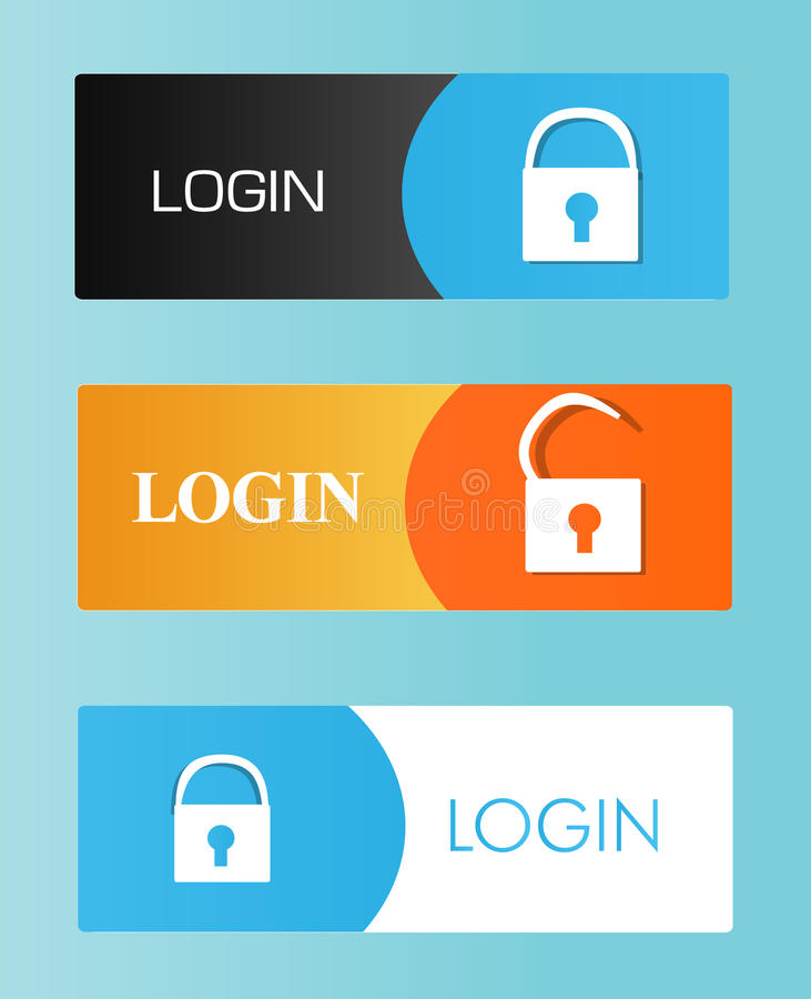 Login buttons stock images
