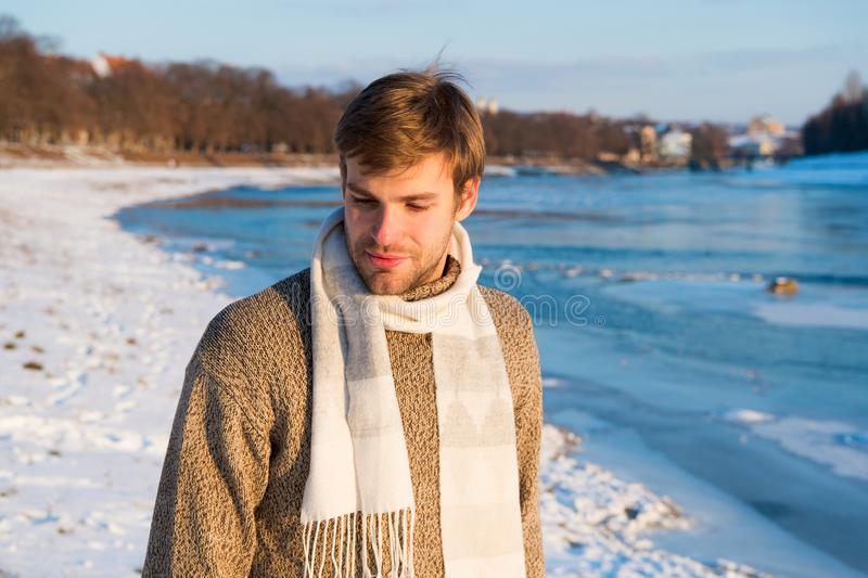 Happy winter holidays. Flu and cold. man in winter clothes. Winter fashion. warm sweater and scarf. Warm clothes. For cold season. Man traveling in winter royalty free stock photos