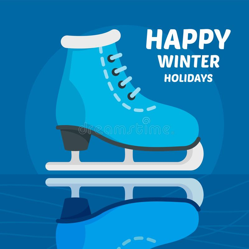 Happy winter holidays skating concept background, flat style vector illustration