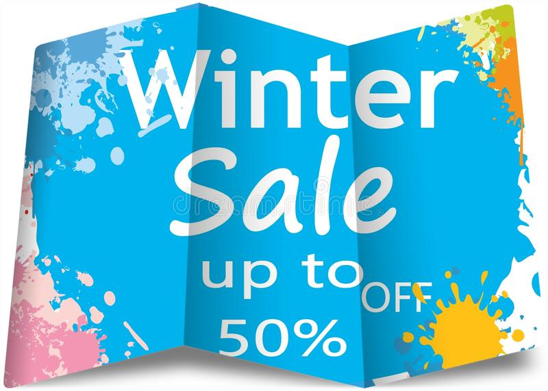 Happy winter sale poster on blue . Paper concept . Illustration design. Business, shop, shopping, texture, price, offer, new, curve, creative, buy stock image
