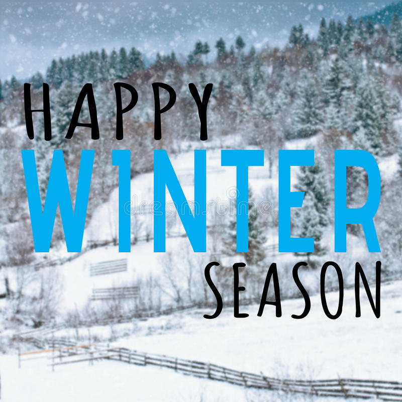 Happy winter season quote stock photography