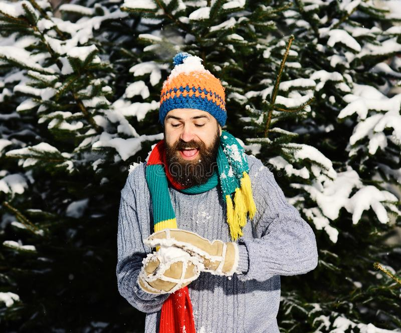Happy winter vacation concept. Man with hat, scarf and gloves. royalty free stock images