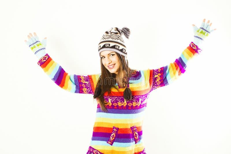 Happy winter woman royalty free stock photo