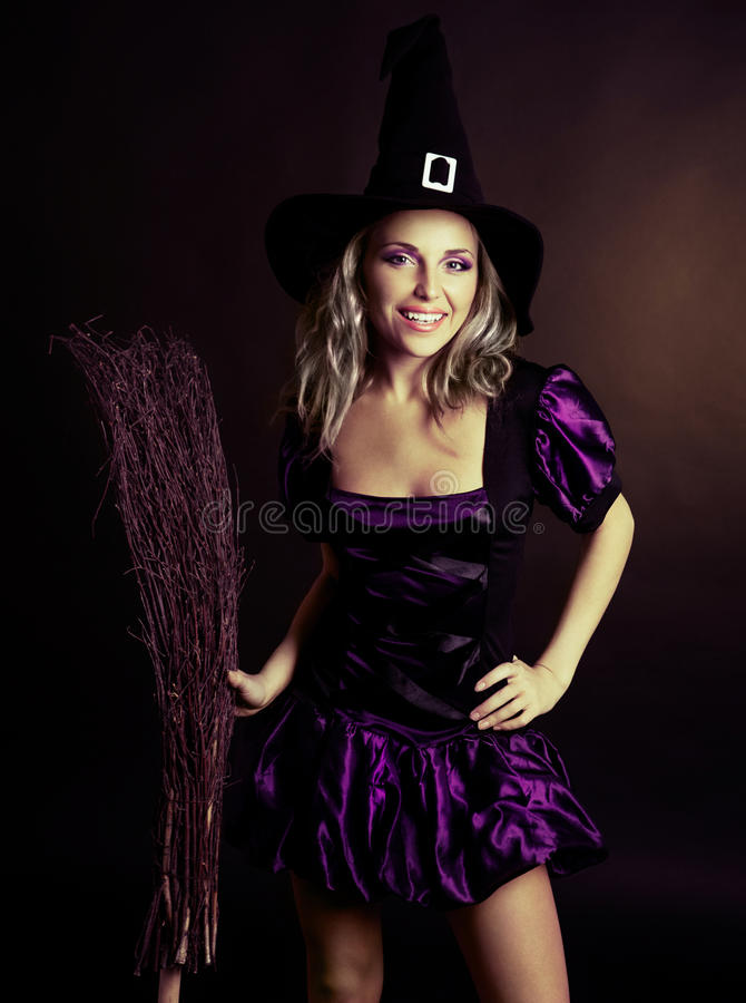 Download Happy witch stock photo. Image of happiness, black, blond - 26723294