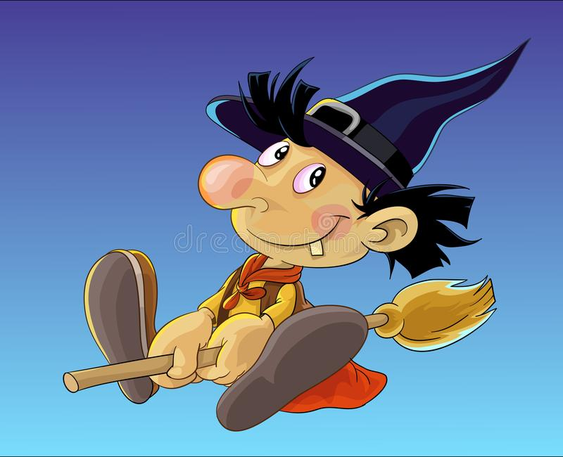 Happy witch on broom royalty free stock photography
