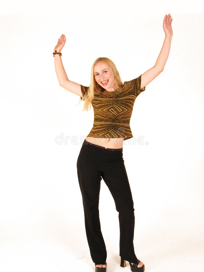 Happy woman. Woman with her hands in the air royalty free stock photos
