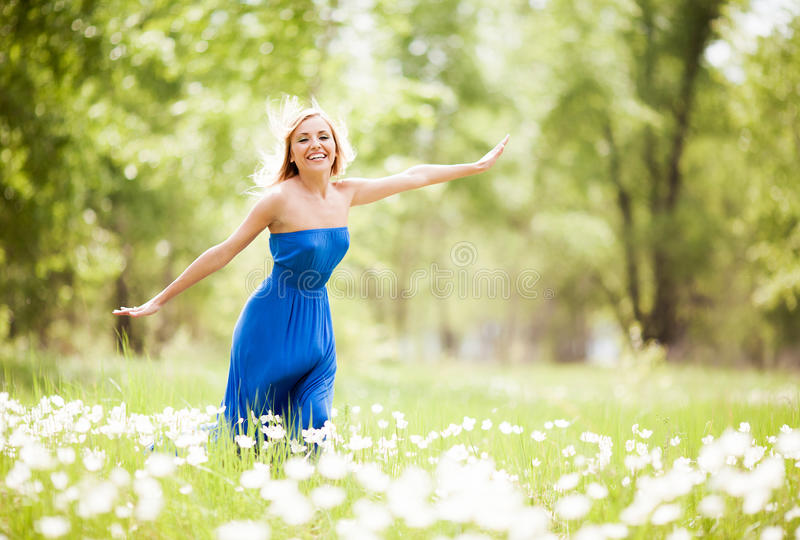 Download Happy woman stock image. Image of enjoy, barefoot, field - 25187269