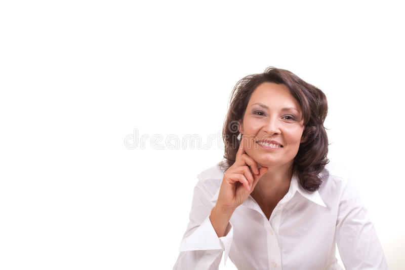 Happy woman. Portrait of a happy business woman royalty free stock photo