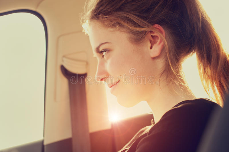 Happy woman in aircraft stock photo