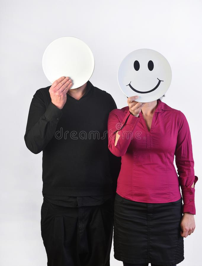Free Happy Woman And A Deadpan Man Royalty Free Stock Photo - 114647595