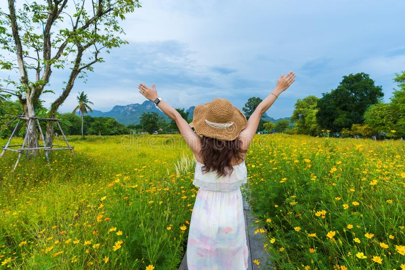 Woman with arm raised in yellow cosmos flower field royalty free stock photos
