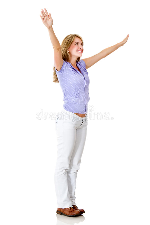 Download Happy woman with arms up stock image. Image of attractive - 24598337