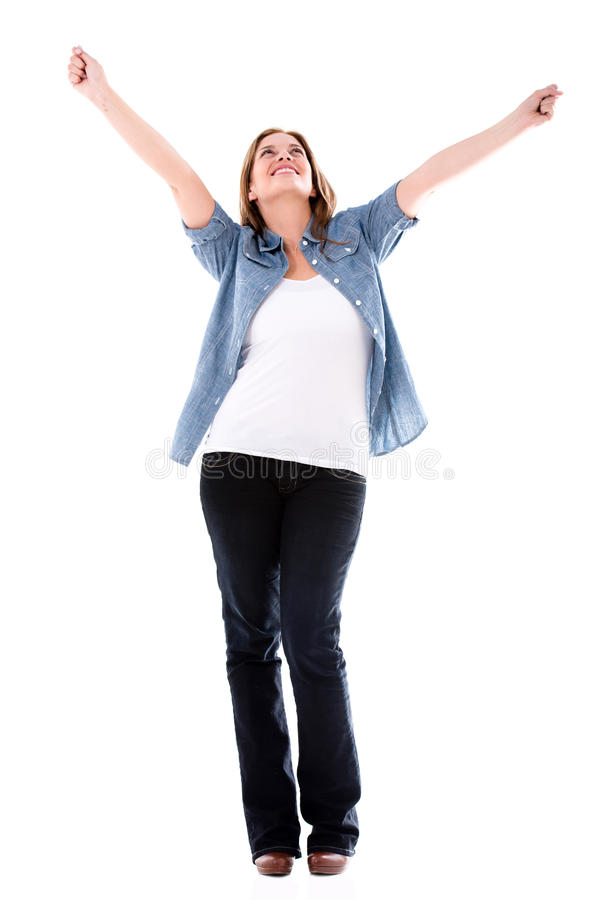 Download Happy woman with arms up stock image. Image of people - 32659469