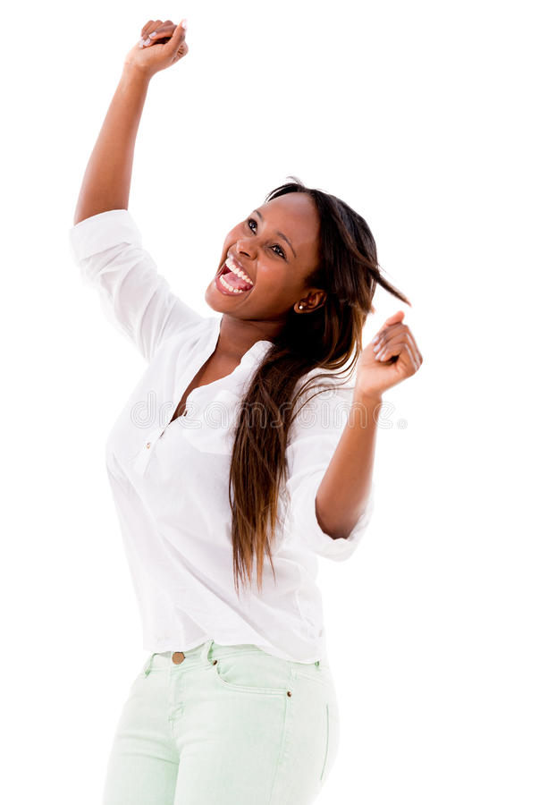 Download Happy woman with arms up stock image. Image of music - 32241715