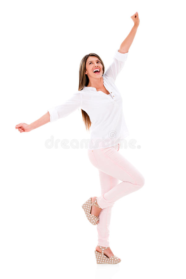 Download Happy woman with arms up stock image. Image of latin - 31458557