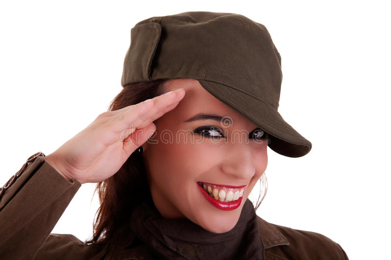 Happy woman army soldier saluting royalty free stock photos