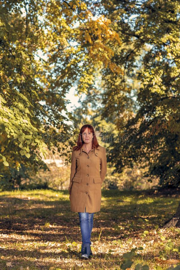 Happy woman in autumn park.Fall. Autumn Park. Autumnal Trees and Leaves in sun rays stock photo