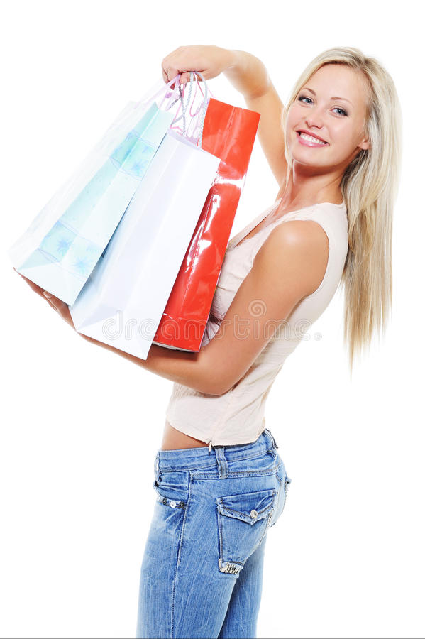 Happy woman avter shopping present the purchases royalty free stock photo