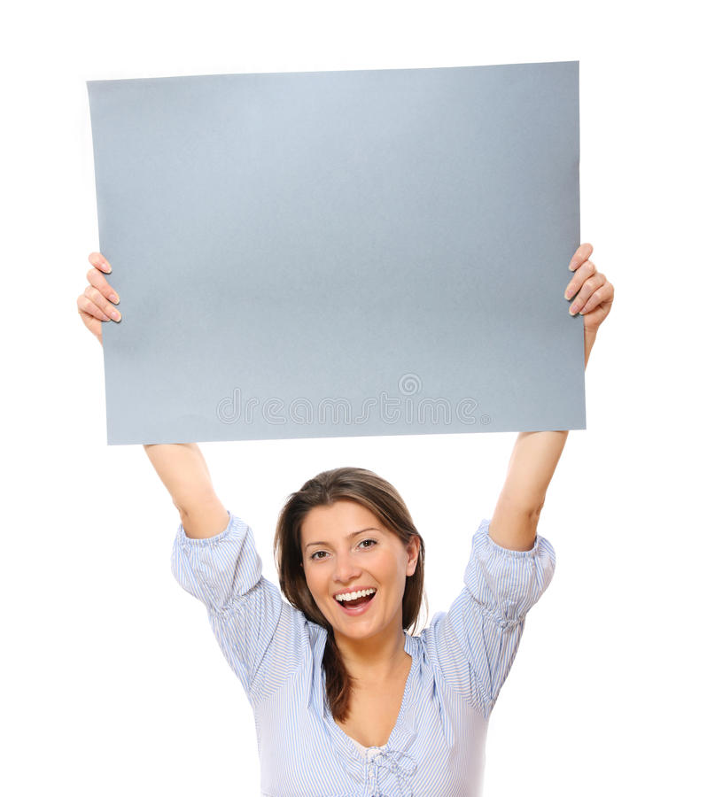 Download Happy woman with a banner stock image. Image of paper - 18855179