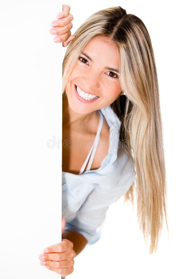 Download Happy woman with banner stock photo. Image of attractive - 25693240