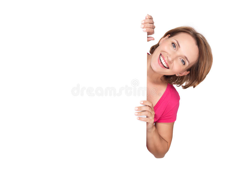Happy woman with banner isolated on white background stock image