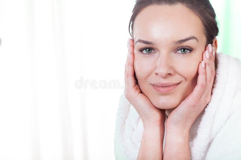 Download Happy woman in bathrobe stock image. Image of enjoy, body - 39500323