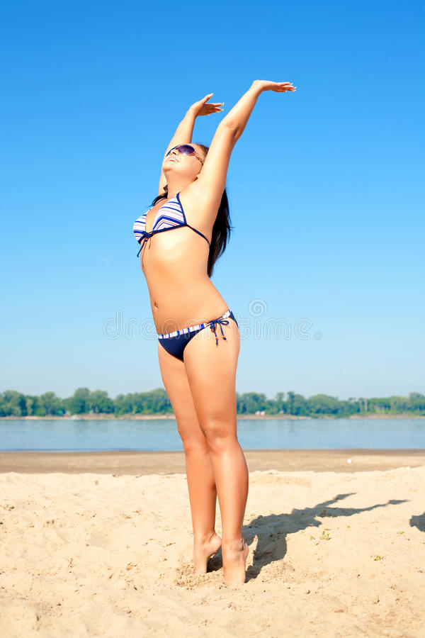 Download Happy woman on the beach stock image. Image of sunglasses - 14354023