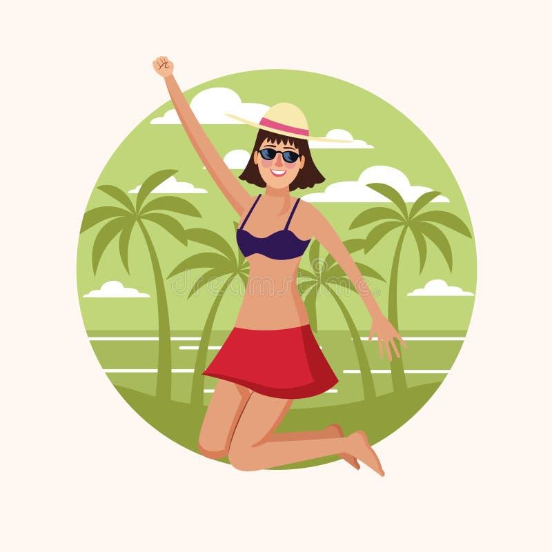 Happy woman at beach royalty free illustration