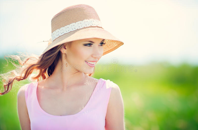 Happy woman. Beautiful happy smiling woman on summer meadow stock photos