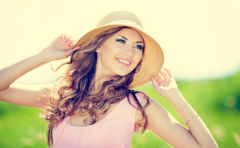 Happy woman. Beautiful happy smiling woman on summer meadow royalty free stock photos