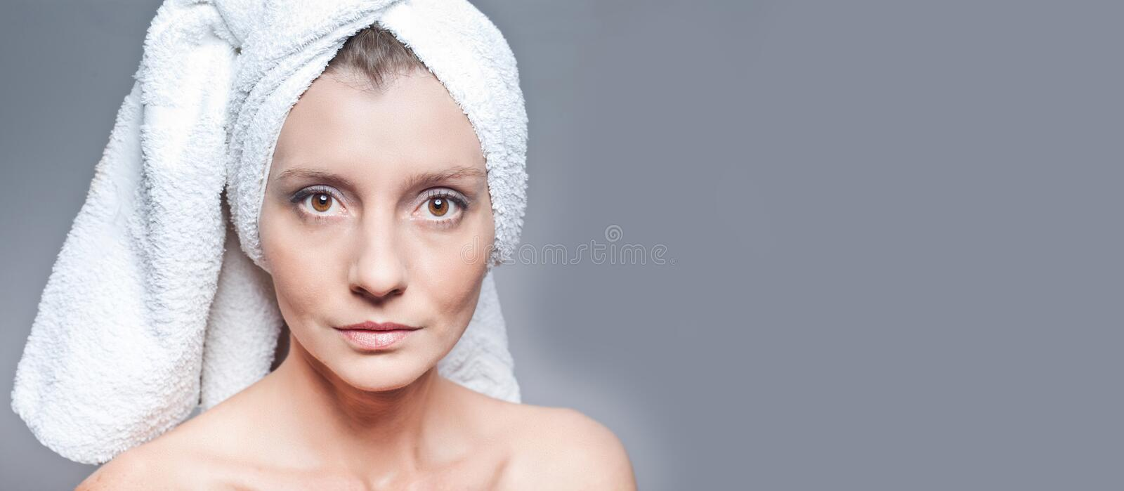 Happy woman after beauty treatment - before/after shots - skin care, anti-aging procedures, rejuvenation, lifting, tightening of. Facial skin stock photo