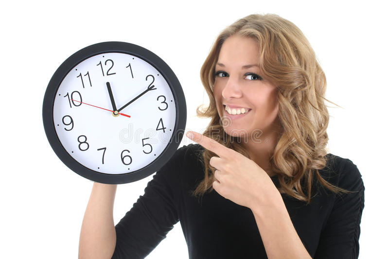 Download Happy Woman In Black With Clock Stock Photo - Image: 19072460