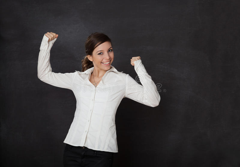 Happy Woman blackboard stock photography