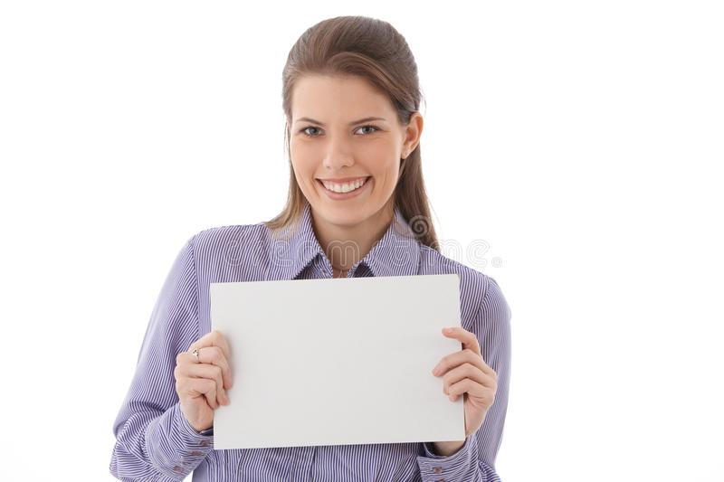 Download Happy Woman With Blank Sheet Stock Photo - Image: 28432580