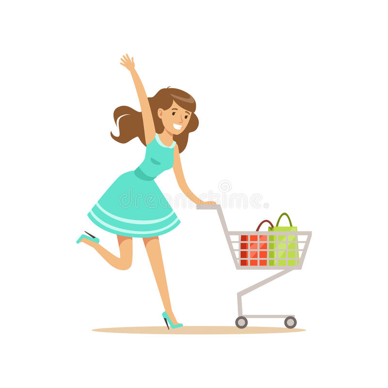 Happy woman in a blue dress running with shopping cart, shopping in grocery store, supermarket or retail shop, colorful royalty free illustration