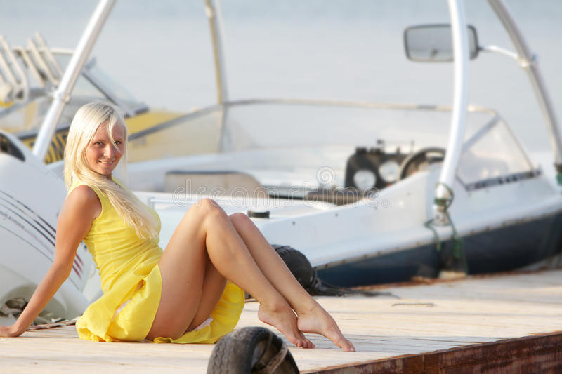 Download Happy Woman On Boats Background Stock Image - Image: 26650419